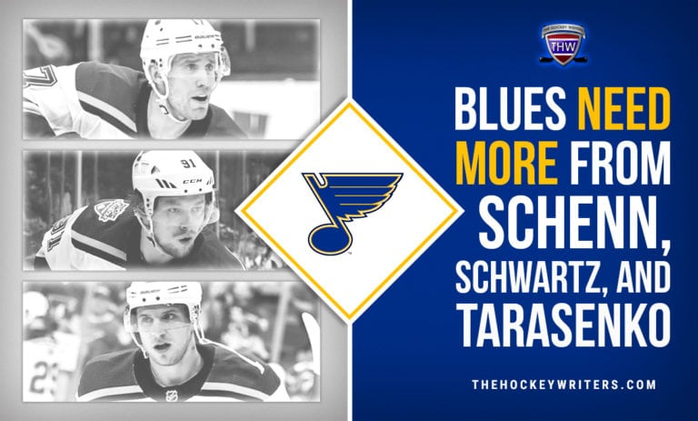 St. Louis Blues Need More from Brayden Schenn, Jayden Schwartz, and Vladimir Tarasenko