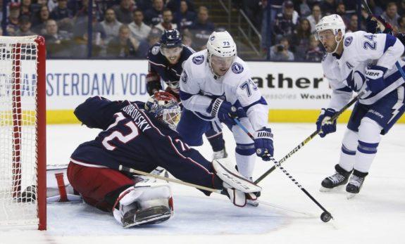 Columbus Blue Jackets Sergei Bobrovsky Tampa Bay Lightning Adam Erne