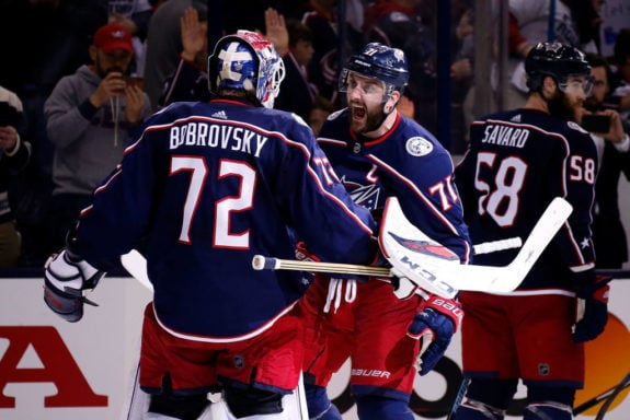 Sergei Bobrovsky Columbus Blue Jackets Nick Foligno