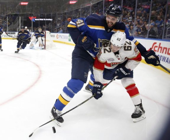 Florida Panthers' Denis Malgin St. Louis Blues' Robert Bortuzzo