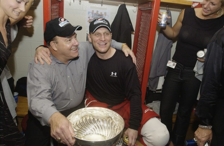 Scotty Bowman and Brett Hull of the Detroit Red Wings celebrate with the Stanley Cup