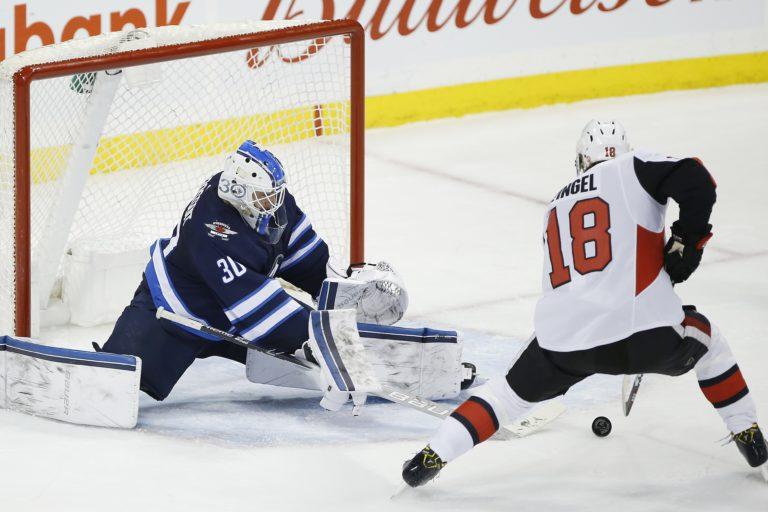 Ottawa Senators' Ryan Dzingel Winnipeg Jets Laurent Brossoit