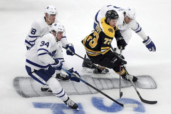 Boston Bruins Charlie McAvoy Toronto Maple Leafs Auston Matthews Andreas Johnsson Ron Hainsey