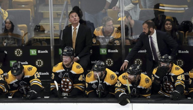 Boston Bruins head coach Bruce Cassidy and bench, Game 7, 2019 Stanley Cup Final