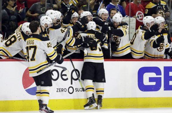 Brad Marchand Boston Bruins bench