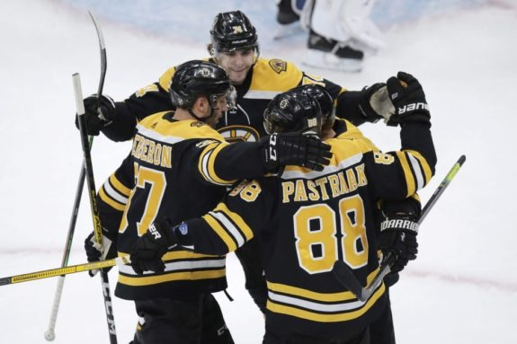 Boston Bruins celebrate David Pastrnak
