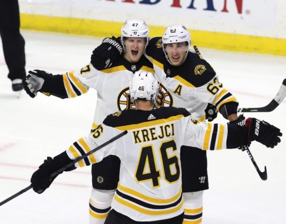 Boston Bruin defenceman Torey Krug Brad Marchand David Krejci