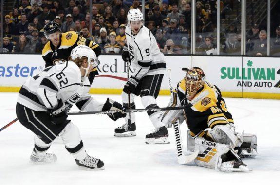 Boston Bruins Tuukka Rask Los Angeles Kings' Carl Hagelin
