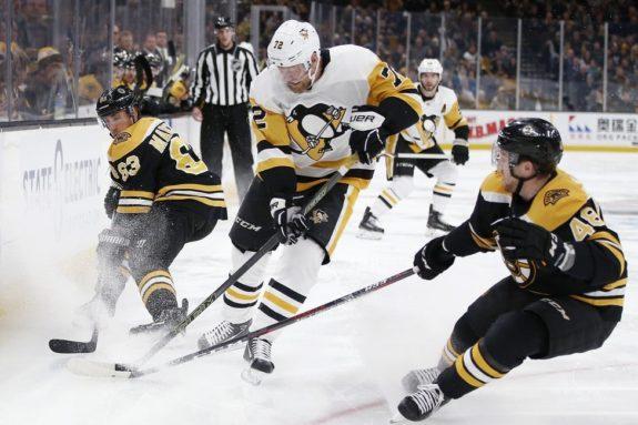 Brad Marchand, Matt Grzelcyk, Patric Hornqvist Bruins Penguins