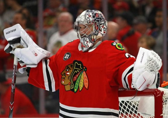 Cam Ward #30 of the Chicago Blackhawks