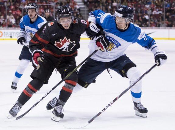 Team Canada's Cody Glass Team Finland's Otto Latvala