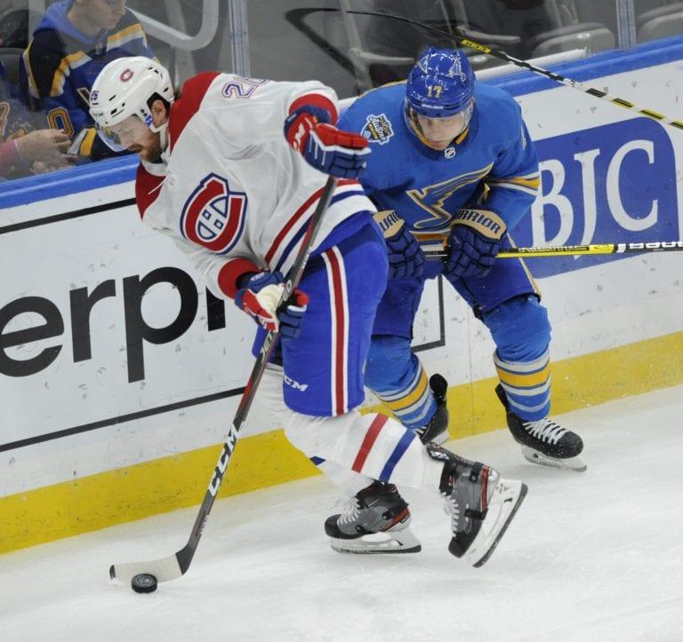 Montreal Canadiens' Jeff Petry St. Louis Blues' Jaden Schwartz