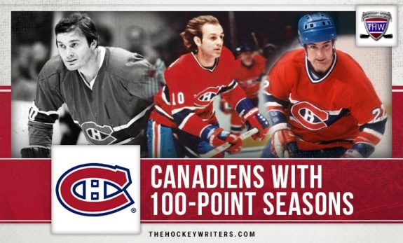 Montreal Canadiens 100-point season Guy Lafleur, Steve Shutt, and Pete Mahovlich