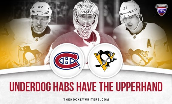 Pittsburgh Penguins and Montreal canadiens Canadiens Sidney Crosby Evgeni Malkin and Carey Price Underdog Habs Have the Upperhand