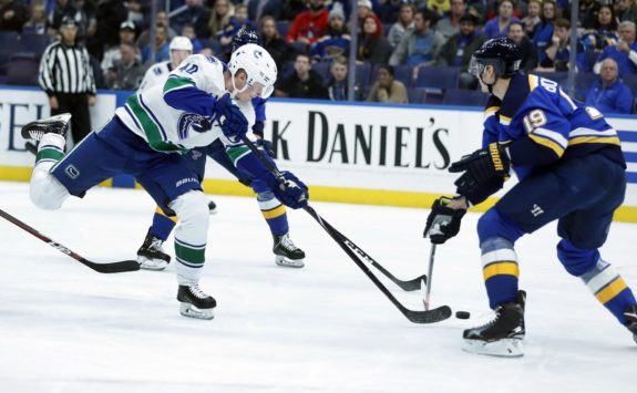 Vancouver Canucks' Elias Pettersson St. Louis Blues' Jay Bouwmeester