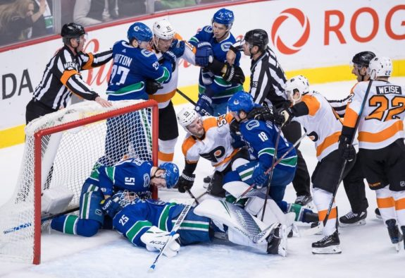 Jacob Markstrom, Troy Stecher, Ben Hutton, Nikolay Goldobin, Jori Lehtera, Shayne Gostisbehere, Jake Virtanen