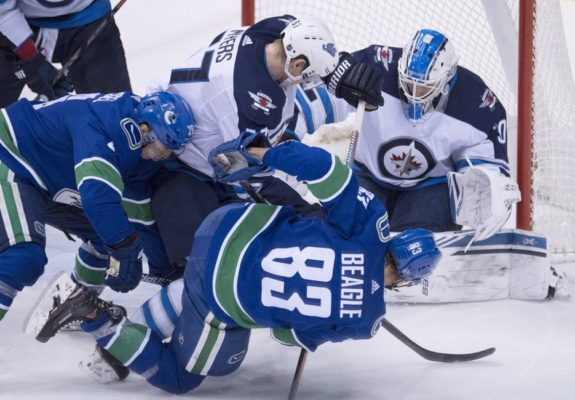 Winnipeg Jets Tyler Myers Laurent Brossoit Vancouver Canucks Jay Beagle