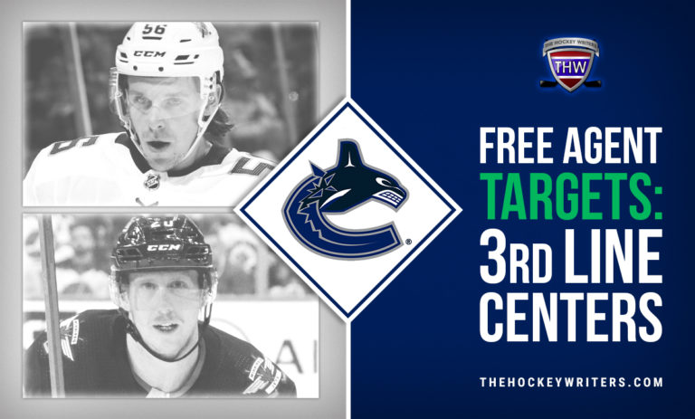 Free Agent Targets: 3rd Line Centers Vancouver Canucks Cody Eakin and Erik Haula