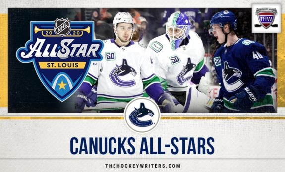 Vancouver Canucks All-Stars Jacob Markstrom, Quinn Hughes and Elias Pettersson