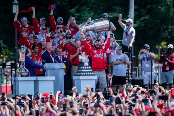 Alex Ovechkin #8 of the Washington Capitals holds the Stanley Cup