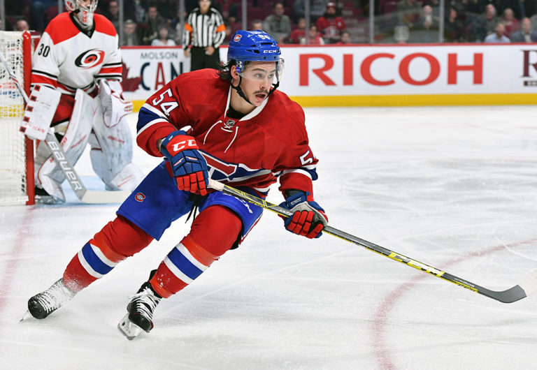 Charles Hudon #54 of the Montreal Canadiens