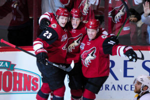 Christian Dvorak, Oliver Ekman-Larsson and Max Domi (Matt Kartozian-USA TODAY Sports)