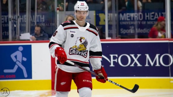 Christoffer Ehn of the Detroit Red Wings and Grand Rapids Griffins
