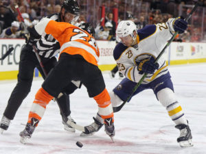 Claude Giroux and Sam Reinhart , Philadelphia Flyers vs Buffalo Sabres - October 25, 2016 (Amy Irvin / The Hockey Writers)