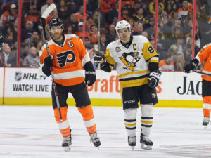 Claude Giroux, Sidney Crosby (Amy Irvin / The Hockey Writers)