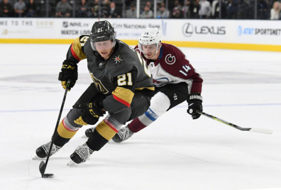 Cody Eakin #21 of the Vegas Golden Knights
