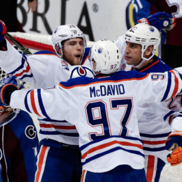 Connor McDavid (97), Milan Lucic (27) and Leon Draisaitl (29) (Isaiah J. Downing-USA TODAY Sports)