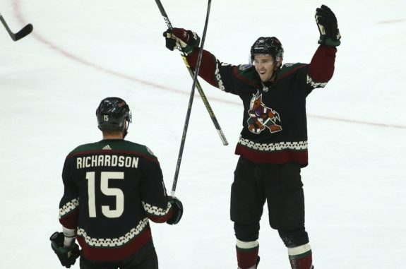 Arizona Coyotes center Brad Richardson and right wing Josh Archibald