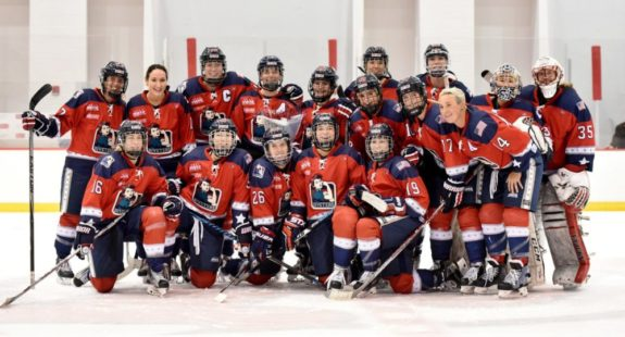 The Riveters pose for a team picture following Morgan Fritz-Ward's last game in the NWHL. (Photo Credit: Troy Parla)