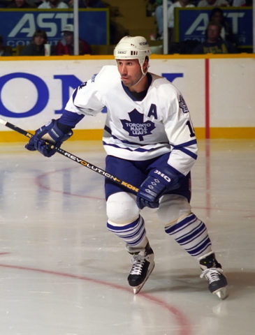 Dave Andreychuk #14 of the Toronto Maple Leafs