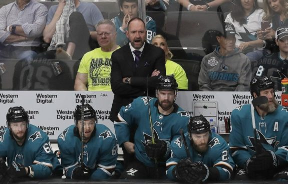 San Jose Sharks head coach Peter DeBoer