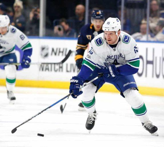 Derek Dorsett #15 of the Vancouver Canucks