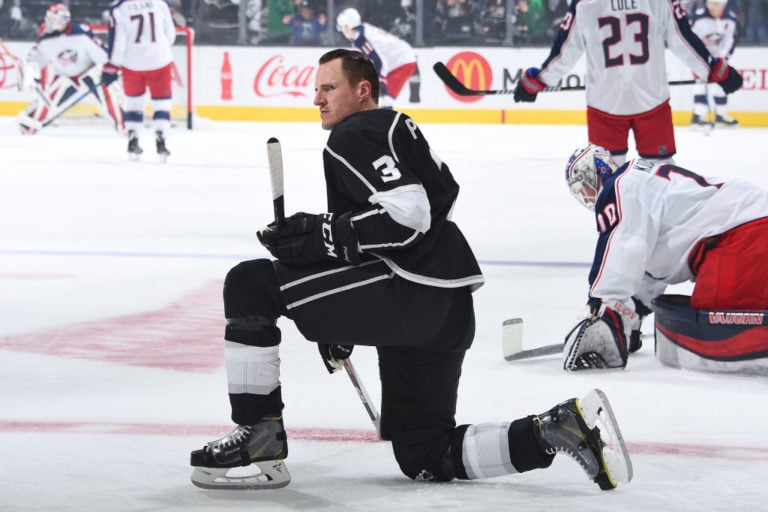 Dion Phaneuf #3 of the Los Angeles Kings