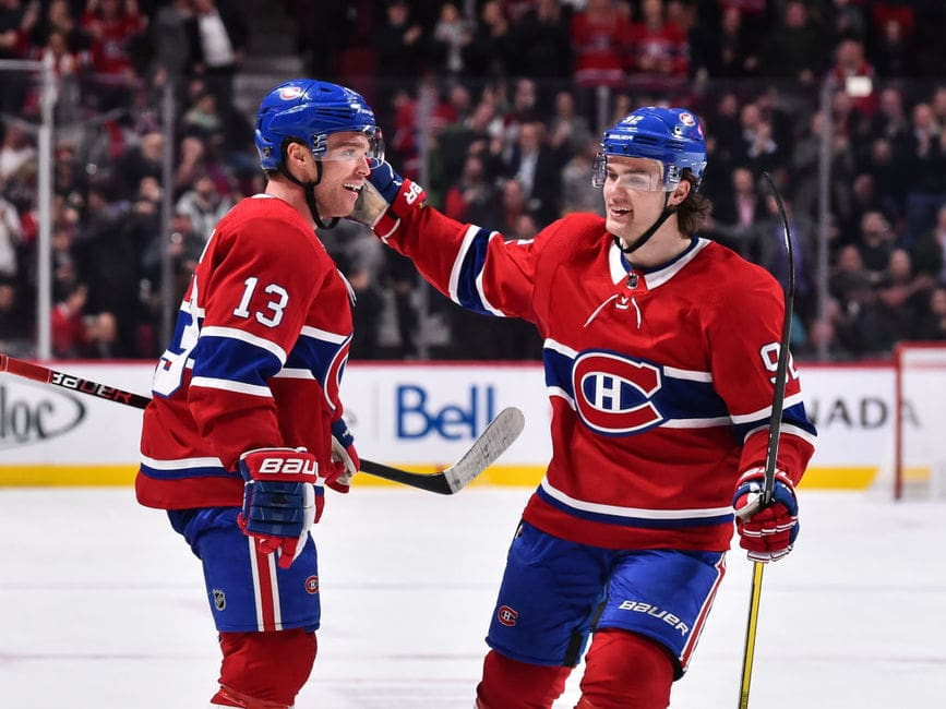 Max Domi #13 of the Montreal Canadiens celebrates a second period goal with teammate Jonathan Drouin