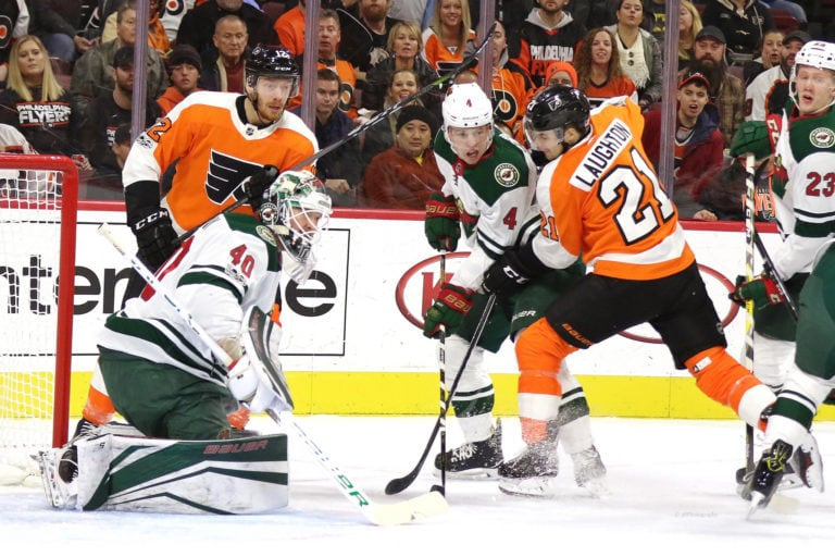 Michael Raffl Devan Dubnyk Mike Reilly Scott Laughton