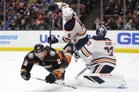 Anaheim Ducks' Brian Gibbons Edmonton Oilers' Kevin Gravel Cam Talbot