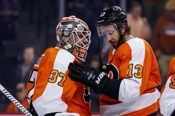 Philadelphia Flyers Kevin Hayes and Brian Elliott