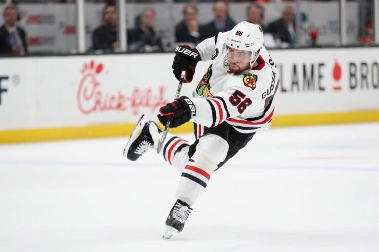 Erik Gustafsson #56 of the Chicago Blackhawks