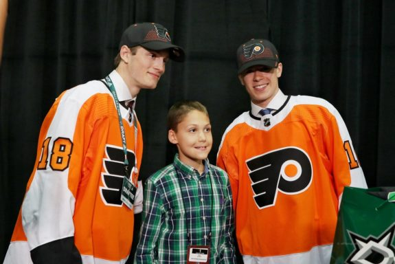 Joel Farabee and Jay O'Brien Philadelphia Flyers
