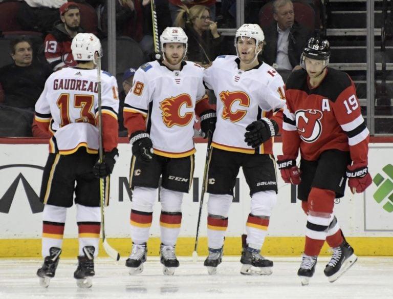 Calgary Flames Elias Lindholm, Johnny Gaudreau Matthew Tkachuk