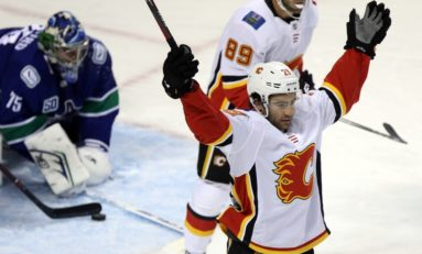 Dube Records Career-High Three Points in Flames' 6-2 Victory Over Canucks