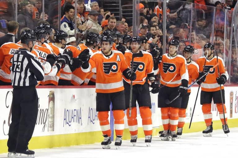 Flyers bench celebrating