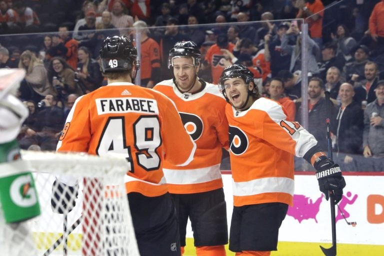 Philadelphia Flyers celebrating a goal