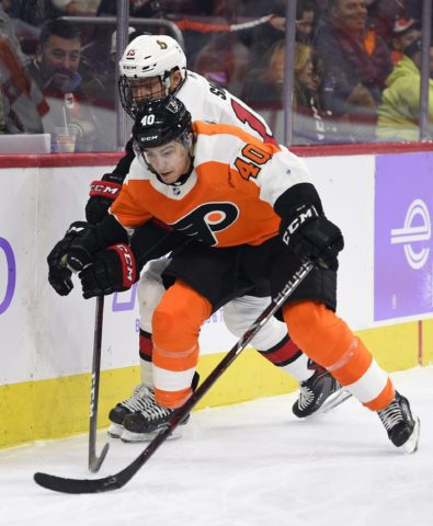 Philadelphia Flyers' Jordan Weal Ottawa Senators' Zack Smith