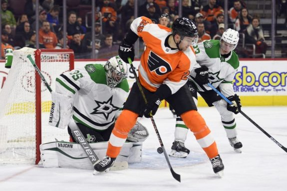 Philadelphia Flyers' James van Riemsdyk Dallas Stars Anton Khudobin