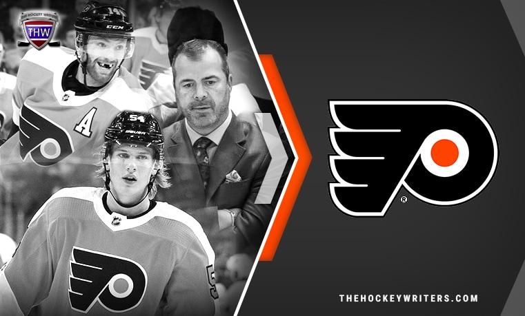 Philadelphia Flyers Sean Couturier, Oskar Lindblom, and Alain Vigneault